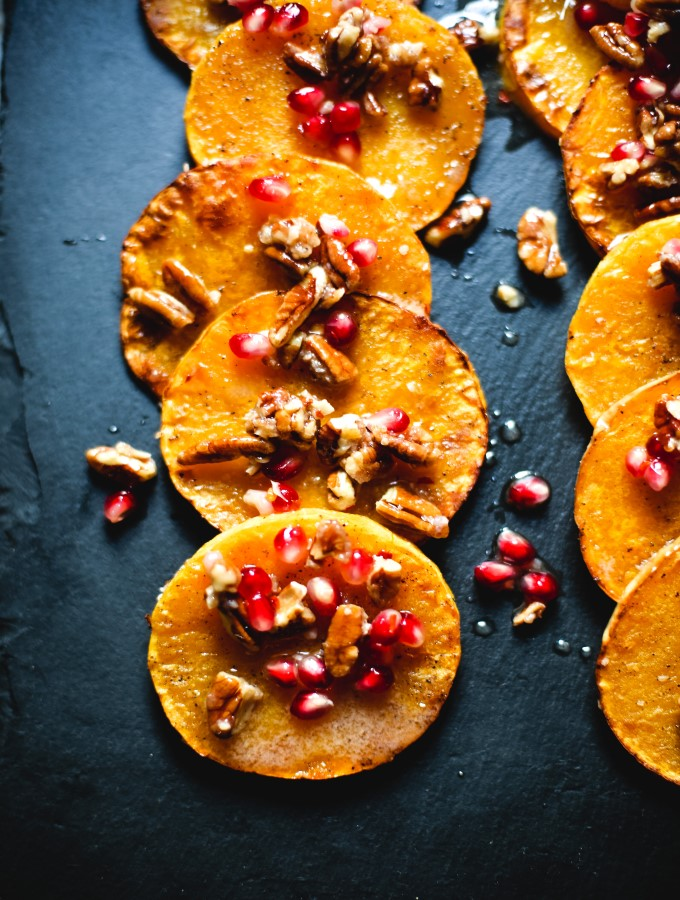 Butternut Squash with Pecans & Pomegranate Seeds